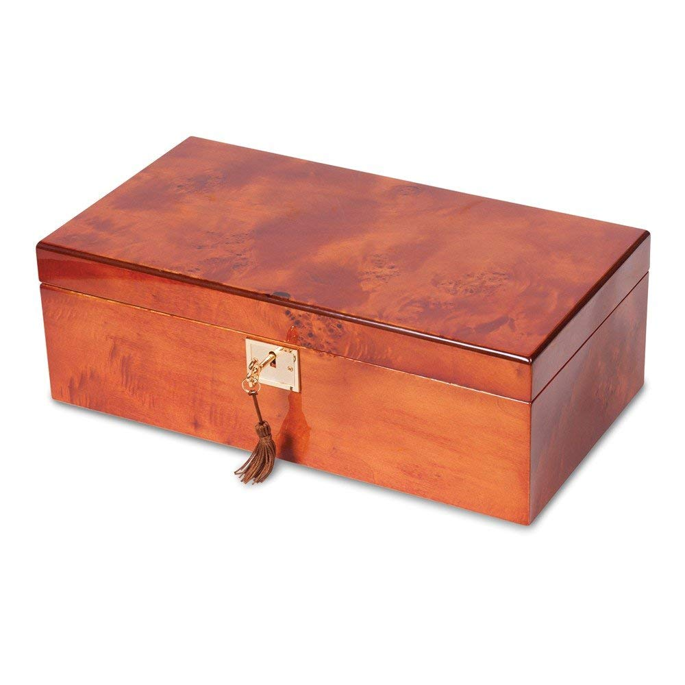 Saris and Things Mapa Burlwood Veneer High Gloss Finish Multi Use Locking Collector Box