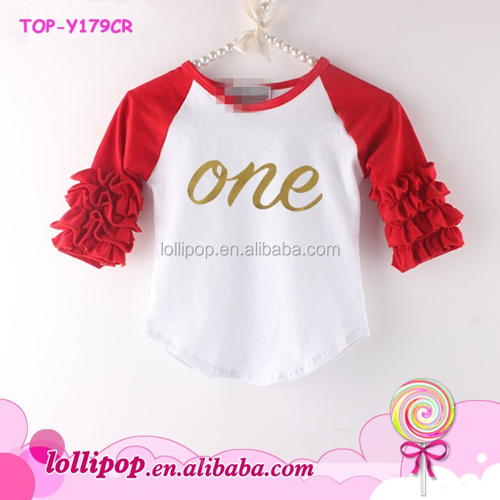 008ce6bc5af On Sale Children Valentine   s Ruffle Shirt Persnickety Remake Monogram  Gold Letter One Icing Ruffle