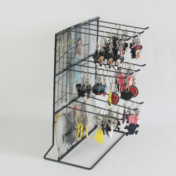 Oem Design Metal Wire Shelf Counter Hanging Keychain Display Rack Key Ring