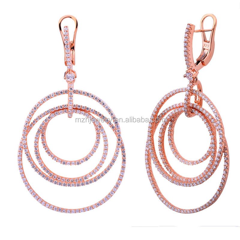 2017 Luxury micro pave setting white zircon earrings rose gold plated 925 sterling silver mixed round circle hoop earrings