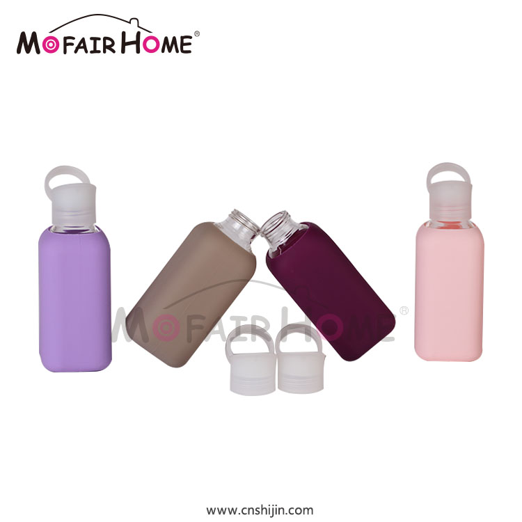 New Product Best Price Jelly Color Glass Water Bottle With Soft Colorful Silicone Sleeve