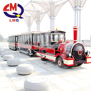 China prodcued outdoor amusement parks diesel trackless kiddy road train rides for sale