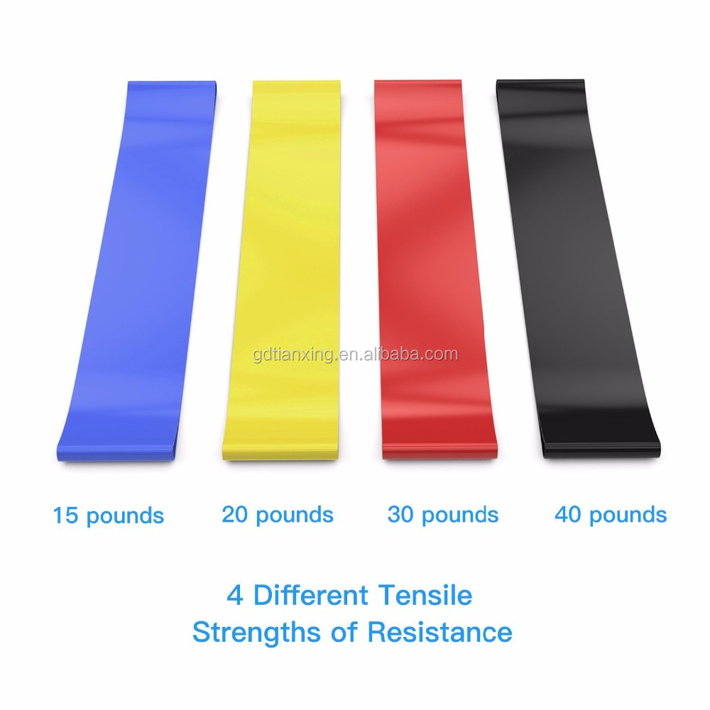 "TX Premium Set of 4 Fitness Resistance Loop Exercise Bands Belt 12"" * 2"" with Workout Manual For Women Leg Knee Arm Training"