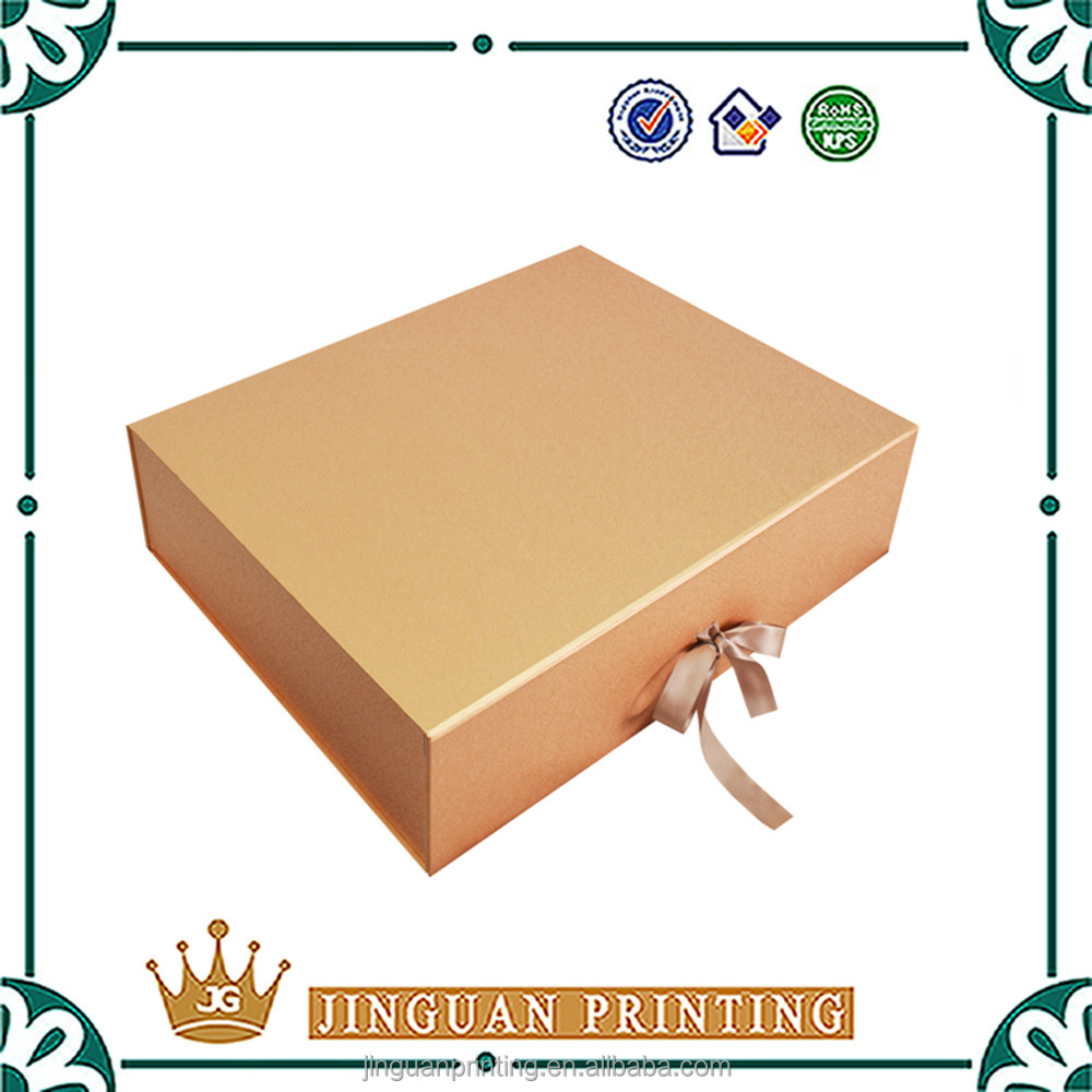 Ribbon closure foldable cardboard packaging customize printing luxury wedding invitation box