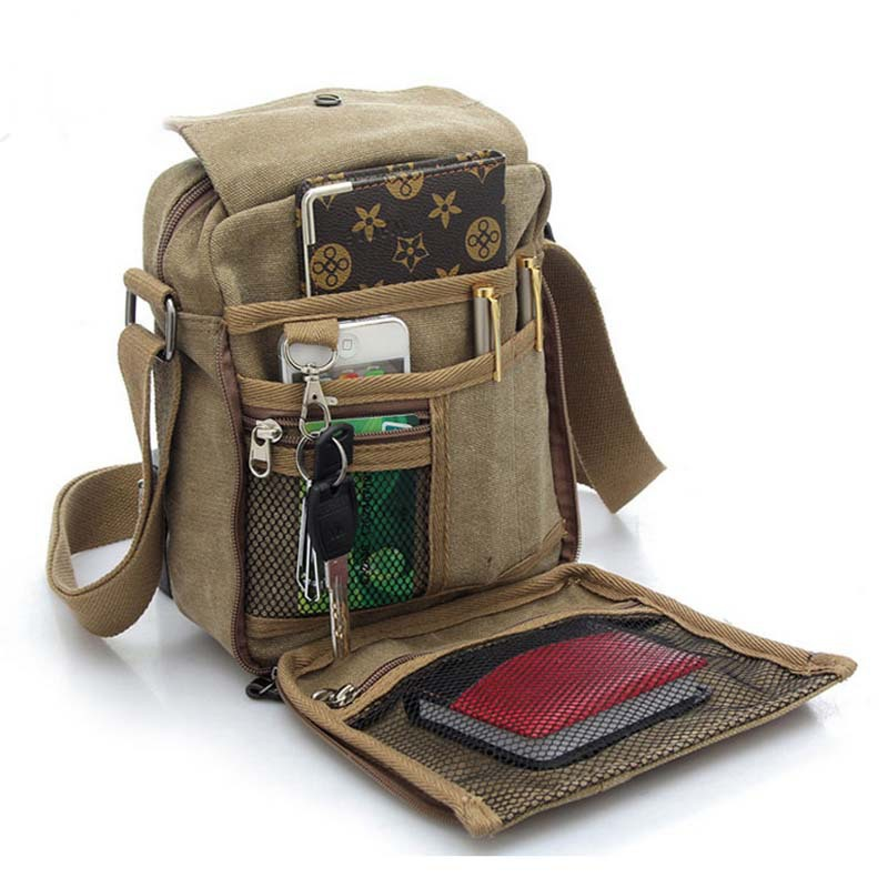 Get Quotations · 2015 men travel bag canvas men messenger bag brand mini  size men bag luxury vintage style 1a08700923a0a