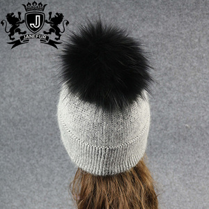 a91cff847f8 Custom Top Quality Soft Angora Rabbit Wool Beanie Knit Winter Hat With  Removable Big Raccoon Fur