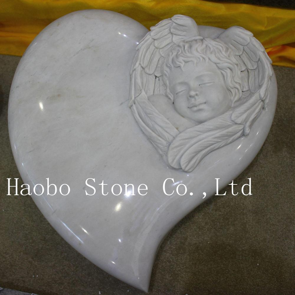 Customized China Good price and service high polished white marble angel child monument slab for sale popular with European