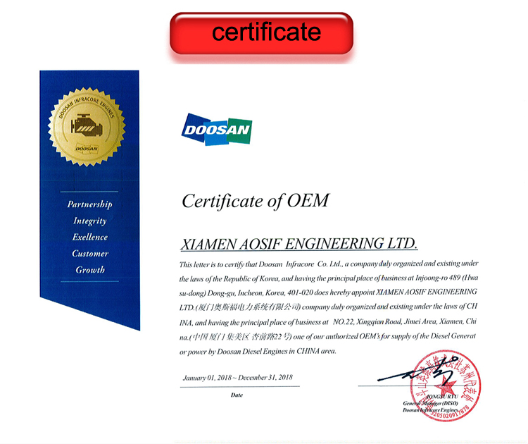Aosif 50KVA to 1000KVA Diesel Generators with Doosan engine on Sales in China