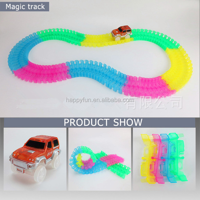 glowing race car set colorful light electric toy magic tracks toy for kids