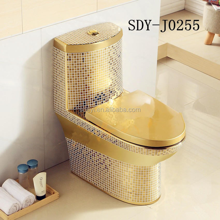 Ceramic Bathroom Design Wc Color Toilet Bowl Gold Plated