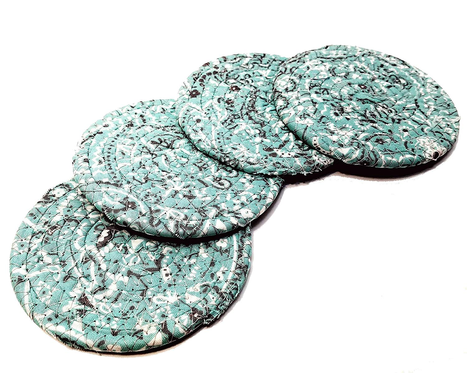 Bandana Print Fabric Coasters, Handmade, Set of 4, Turquoise Light Teal Blue/Green, Coiled Rope, Bohemian Style Drink Coasters