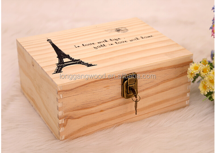 Small Wooden Box Pine Wood Gift