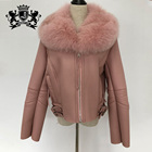 Girls short coat double faced real fox fur collars coat sheepskin leather jacket