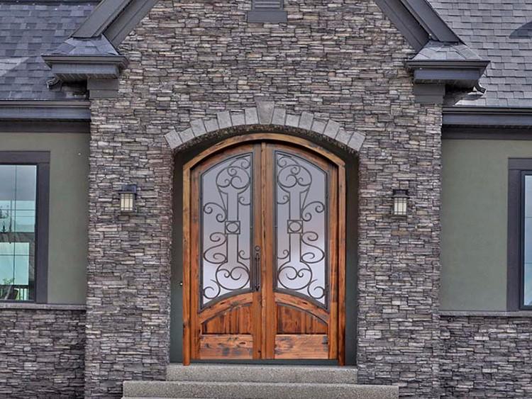 lujo americano entrada principal de hierro forjado puerta de madera con vidrio templado