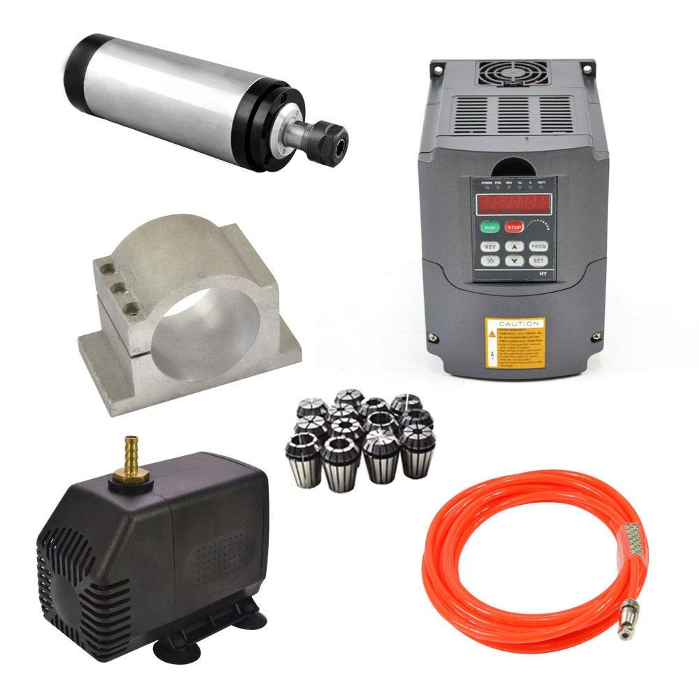 2.2kw 110v Water Cooled Er20 CNC Spindle Motor+ 2.2kw 110v Vfd Variable Frequency Drive+ 80mm Clamp+ Water Pump+ Pipe +Collet set