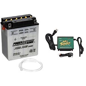 Power-Sonic 12N12A-4A-1 Conventional Powersport Battery and Battery Tender 022-0157-1 Waterproof 12 Volt Power Tender Plus Battery Charger Bundle