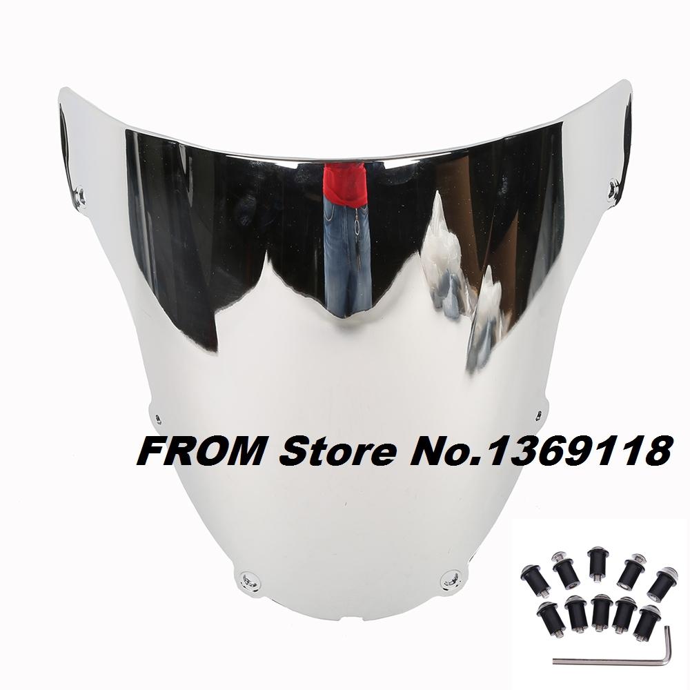 Хром ветрового мотоциклов ветер щит для Kawasaki ZX6R 2003 2004 03 04 оснащены бесплатным болты