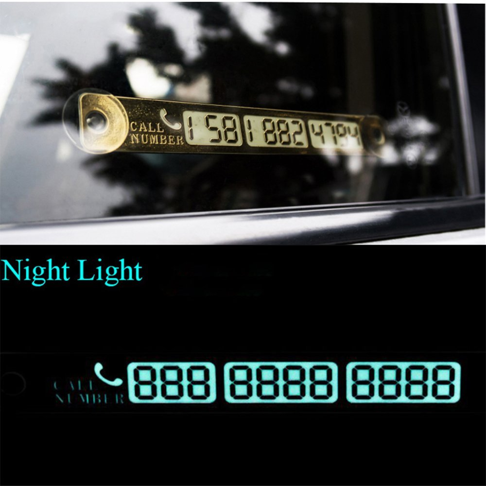 Mothca Temporary Car Parking Card Luminous Telephone Number Billboard Notification Night Light Sucker Plate Car Styling Phone Number Car Stickers Car Accessories (Gold)