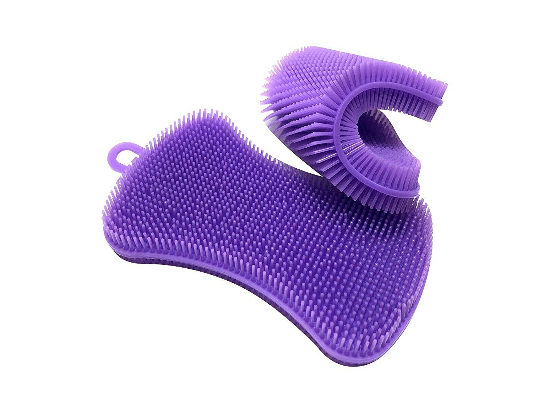 VOLTERIX 2 Piece Silicone Sponge | Multipurpose Foodgrade Antibacterial Dish Scrubber For Kitchen | Heatresistant Pot Holder | Nonstick Dishwashing Brush | Mildew-Free | Dishwasher Safe | 2 x Purple