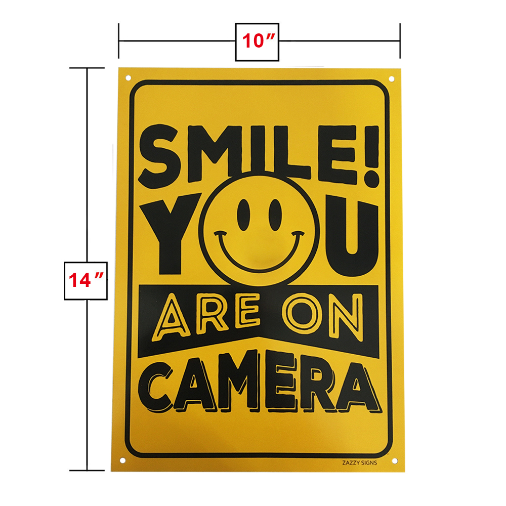 "Aluminum Reflective Sign ""Smile You Are On Camera"" 10*14"""