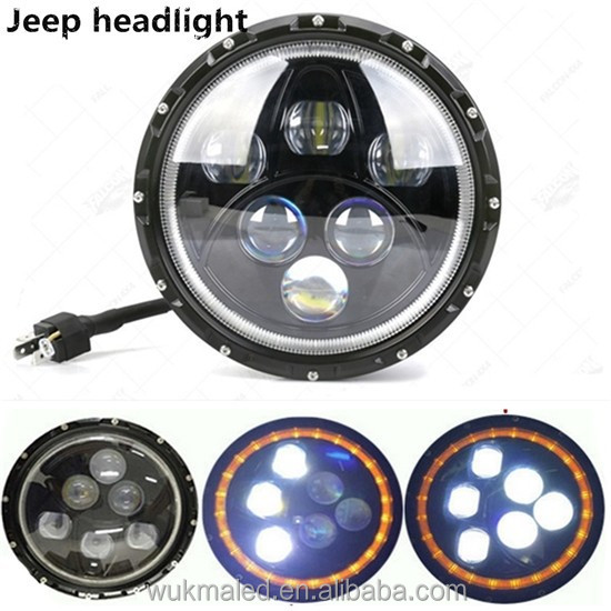 "Jeep Wrangler JK TJ 7"" LED 60w Headlamp Headlights Black Hi/Lo Beam Yellow Halo"