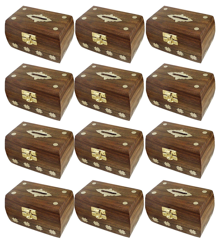 "Set of 12 - Treasure Chest Money Box - Safe Money Box Savings Banks Wooden Carving Handmade - Large Piggy Bank for Kids 4.5"" x 3"" x 3"""