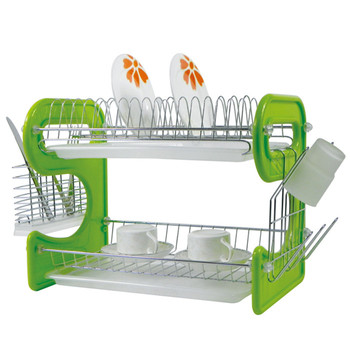 Two Tier Plastic Cutlery Drainer Kitchen Plate Drying Rack Green Dish Rack