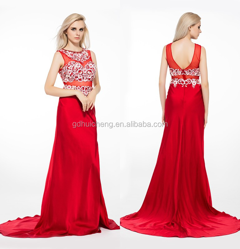 Factory Crystal Beaded Red Western Gowns Party Wear Long Fashion ...
