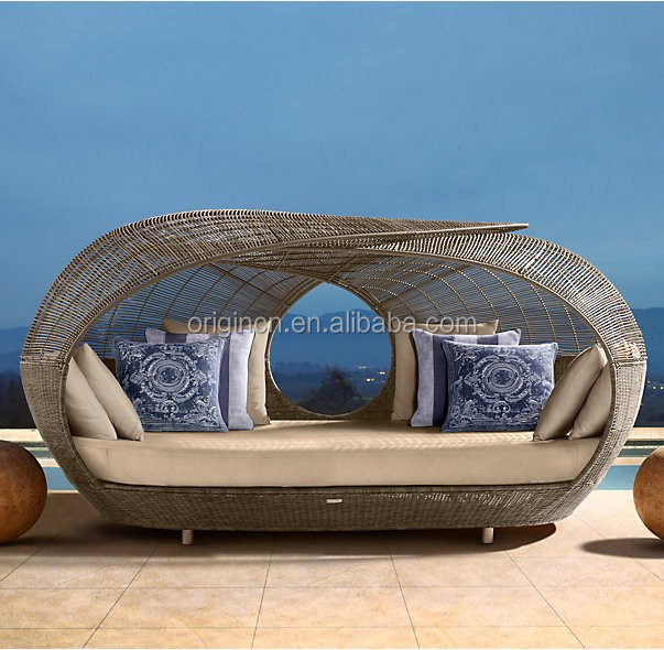 Unique japanese style garden outdoor furnitures products to buy with sunshade wicker beach sun lounger