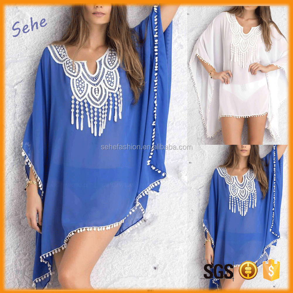 Woman Swimwear Beachwear Crochet Chiffon Casual Blouse