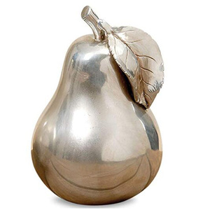 Decorative Pear, Handcrafted, Silver, Metallic Cast Polyresin pear