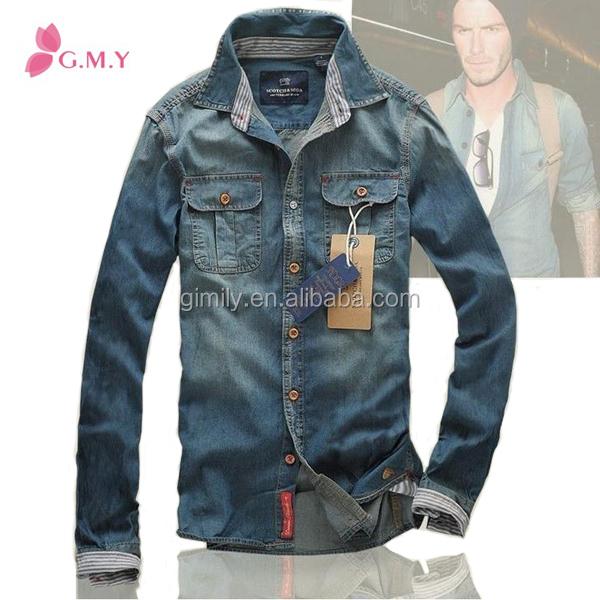 China Supplier 2016 Casual Men Slim Fit Denim Shirt Rockabilly