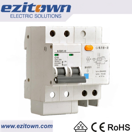 DZ47L Electrical isolator types Elcb mcb Earth leakage circuit breaker