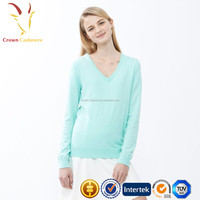 Ladies 100% Cashmere V Neck Sweater Women V Neck Wool Knitted Sweater