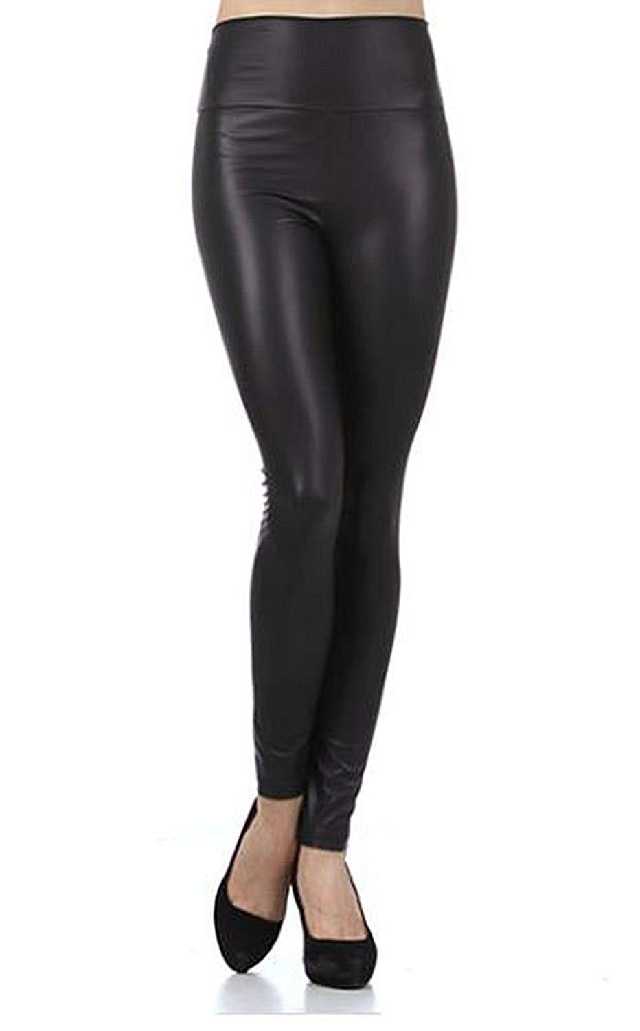 161f3d14450b5a Get Quotations · Zumie Couture USA Faux Leather Leggings Elastic High Waist  Skinny Pant Jegging By Imagenation