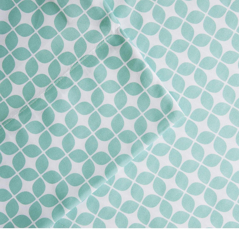 OSK 4 Piece Girls Aqua Blue Abstract Sheet Full Set, Light Blue Color Geometric Trellis Pattern Lattice Kids Bedding For Bedroom, Classic Contemporary Sophistication Teen Themed, Microfiber Polyester