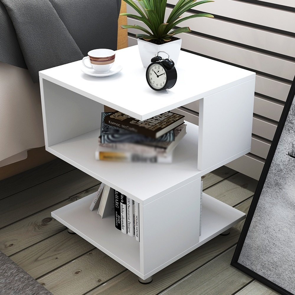 LQQGXL Storage and organization Simple wooden small square table/sofa side table/bedroom bedside table size 40 40 50cm (Color : White)