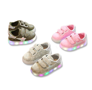 Cheap Wholesale Hot Fashionable Flash LED Kids Glitter Casual Shoes