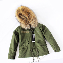 Handsome Khaki Parka Real Raccoon Fur Collar/Hooded With Fake Fur Vest nside