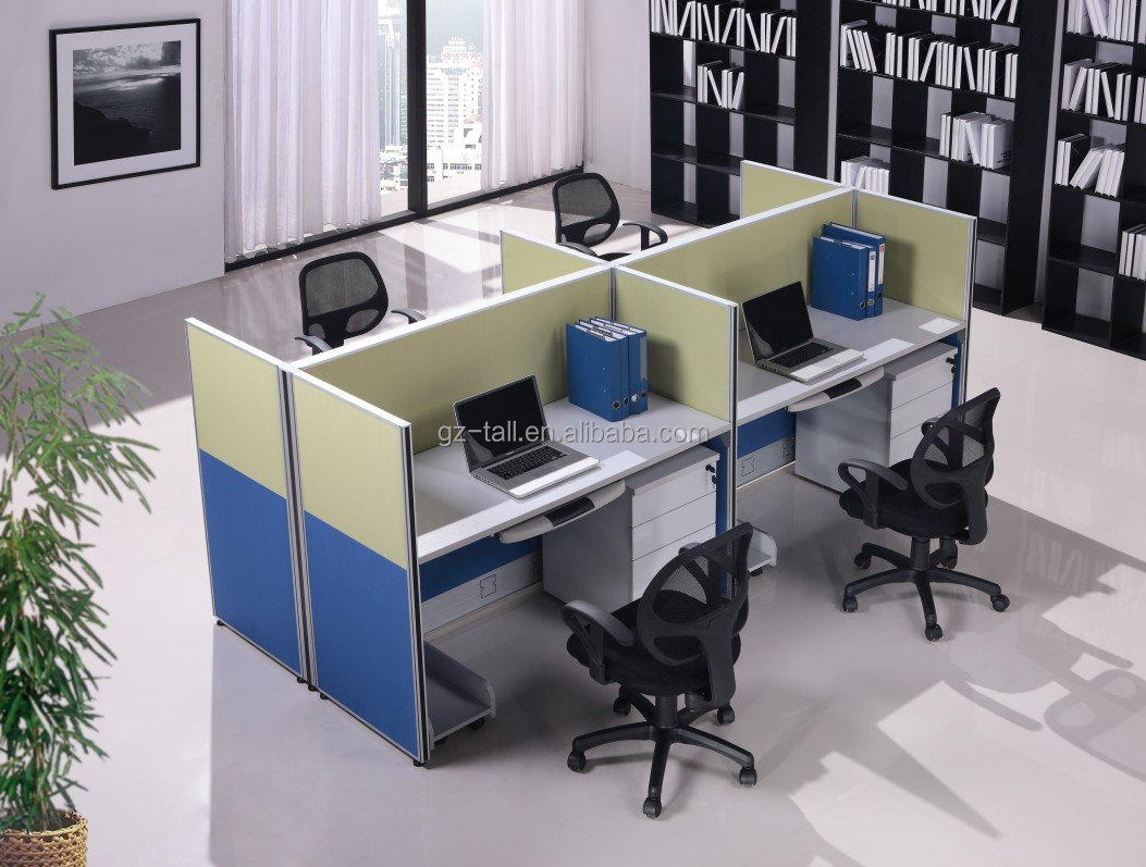 4 seat office workstation cubicle modern design for Oficina western union malaga