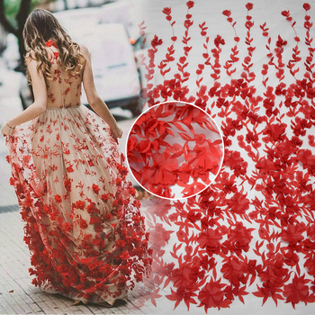 Hot sales bridal netting fabric red wedding lace 3D flower embroidery designs for lace wedding dress HY0738-2