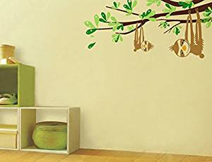 """Pop Decors PT-0124-Vb Beautiful Wall Decal, Sloths and Branches, 47"""""""
