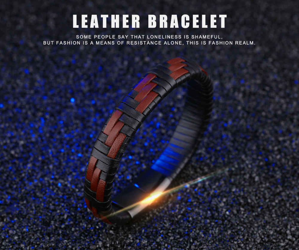 Stainless Steel Magnetic Clasp Jewelry Men Handmade Genuine Leather Bracelets Wristband Braided Leather Cuff Bangle For Men