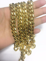 Top 18k Yellow Gold Finish Stainelss Steel 12/14mm Miami Cuban Link Chain