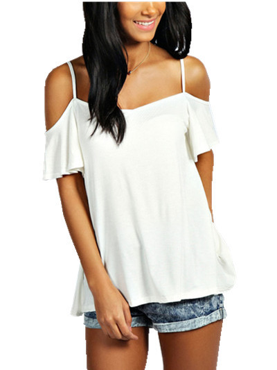 03e69d4b6a4b6 Get Quotations · T-shirt Women New Stylish Fashion Sexy Off Shoulder Sleeve Casual  Tops t shirt White