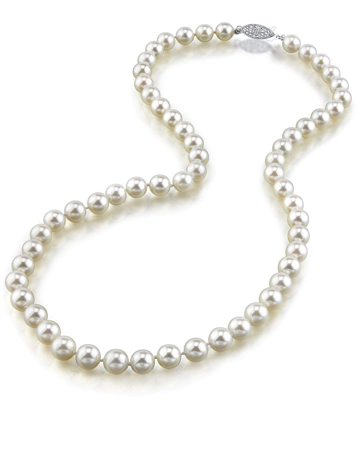 "14K Gold 6.5-7.0mm Japanese Akoya Saltwater White Cultured Pearl Necklace - AA+ Quality, 18"" Princess Length"