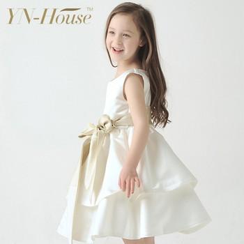 05570fdafe3b4 Rubans manches courtes dentelle real sample fleur fille robe de tulle et  perle vêtements de mariage