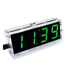 DIY 4 Digit LED Electronic Clock Kit Large Screen With Case 4 Color