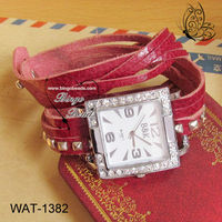 Square Rivets Studs Leather Wrap Strap Watch Fashion Jewelry Punk Rock In Roll