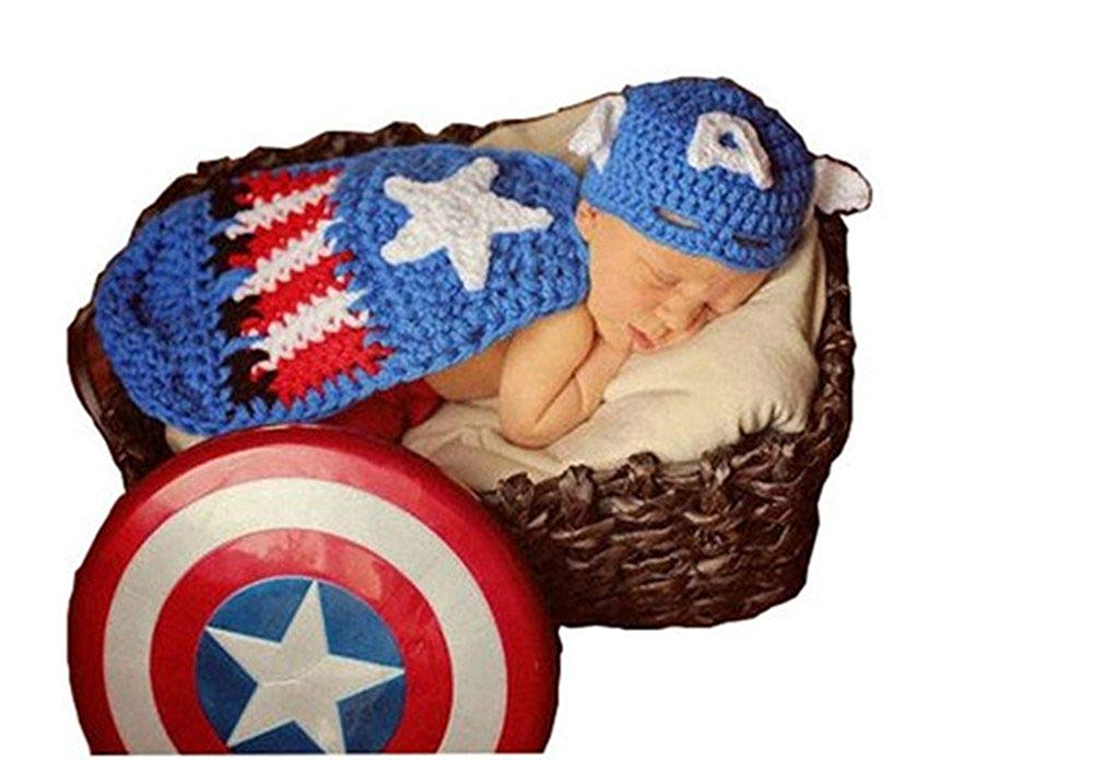 9b5ac5476172d Get Quotations · Pinbo Baby Boys Girls Photography Prop Captain America Hat  Cover Costume Crochet Knitted Outfits